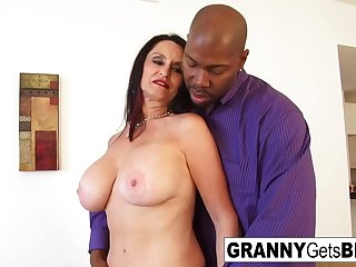 Busty brunette granny takes..