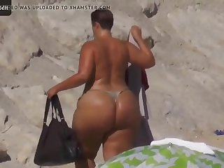 Mega Butt On The Beach..