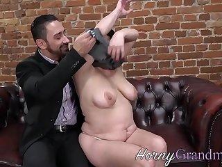 Fat grandma sucking and riding