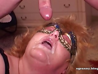 Redhead granny anal and DP..