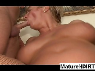 Mature blonde needs two..