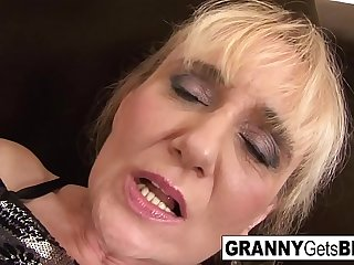 Blonde mature takes a facial..