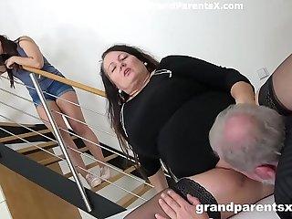 Grandpa fucks his fat wife..