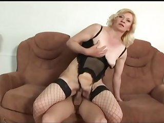 Cock sucking mature blonde..