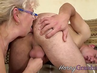Granny sucking hard cock