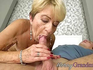 Chubby grandma jizzed on