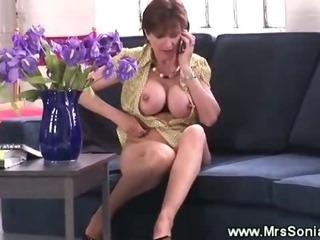 Classy wife masturbates with..