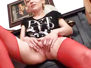Blondie madame in red..