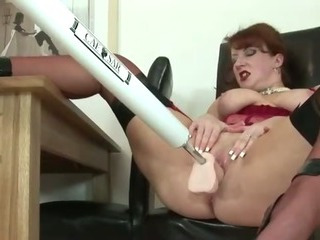 Mature stocking brit uses a..