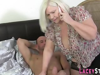 Busty gran in stockings gets..
